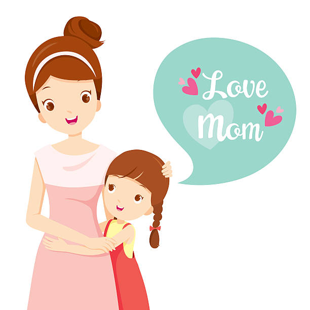 daughter hugging her mother - daughter stock illustrations, clip art, cartoons, & icons