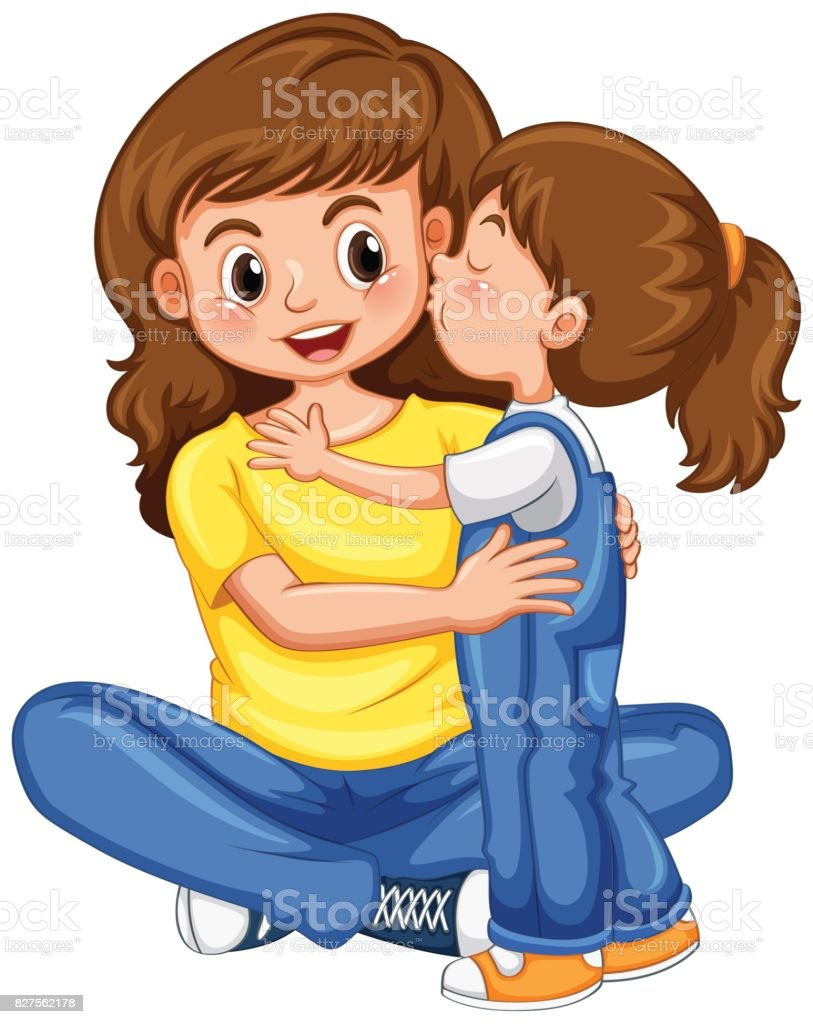 royalty free mother daughter kiss clip art vector images rh istockphoto com mother's day clipart images mother clipart picture