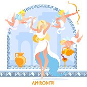 Daughter of Zeus, Beautiful Aphrodite Posing in White Dress on Arch Background with Flying Boys Amours with Bow and Wine Jug, Traditional Greece Mythology Cartoon Flat Vector Illustration, Banner
