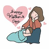 Daughter sleeping with mom, Happy Mother's Day cartoon vector illustration