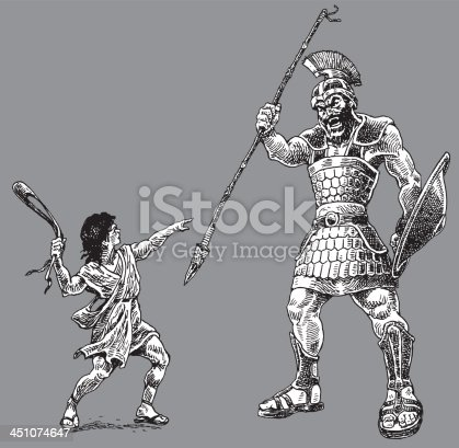 David and Goliath - Bible Story. Pen and ink illustrations of David and Goliath - Bible Stories. Check out my