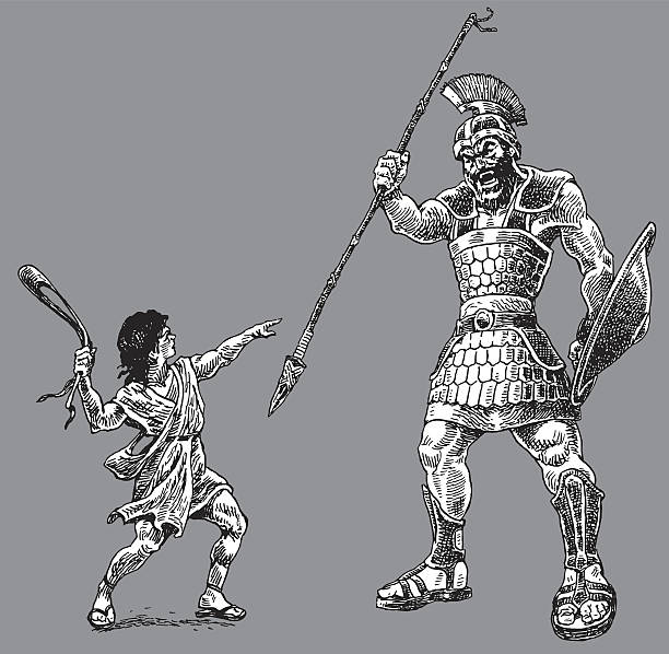 david and goliath - bible story - salud stock illustrations