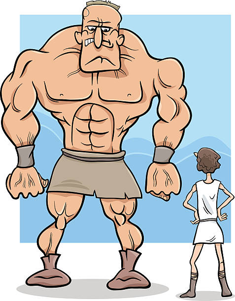 david and goliath cartoon illustration - salud stock illustrations
