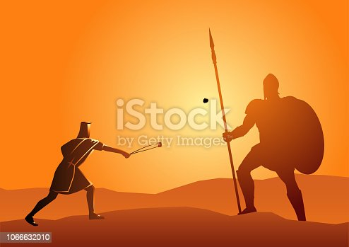 Biblical vector illustration of David and Goliath