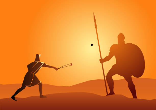 david ve goliath - salud stock illustrations