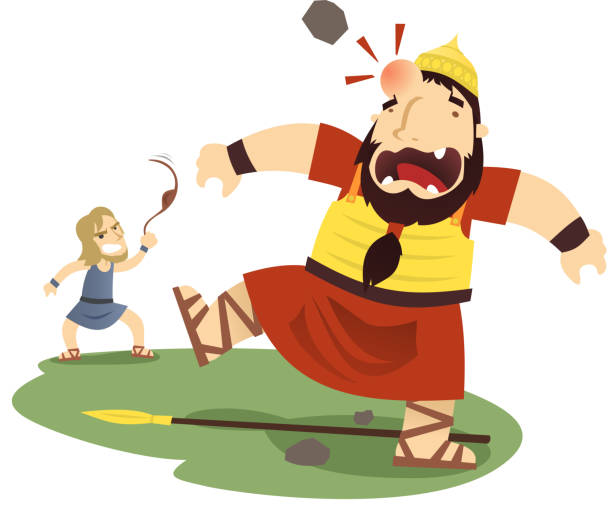david and goliath - salud stock illustrations