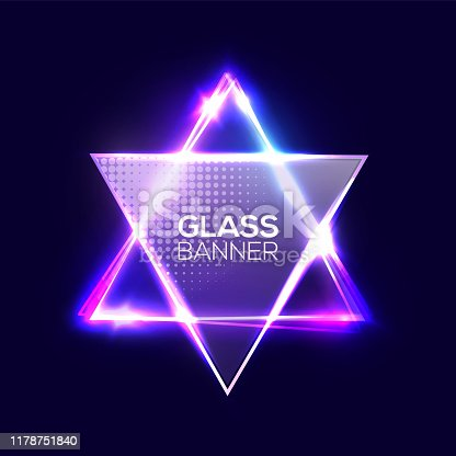 istock David star. Neon sign. Triangle background with textured transparent glass plate. Glowing electric abstract frame on dark backdrop with light, glow. Bright vector illustration with flares and sparkles 1178751840