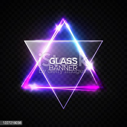 istock David star. Neon sign. Triangle banner with transparent glass plate. Judaism flag. Hebrew Israel glow symbol art. Electric abstract frame on transparent backdrop Religious light vector illustration. 1227219235