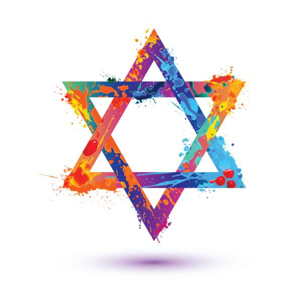 David star vector symbol David star colorful vector symbol. Splash paint star of david stock illustrations
