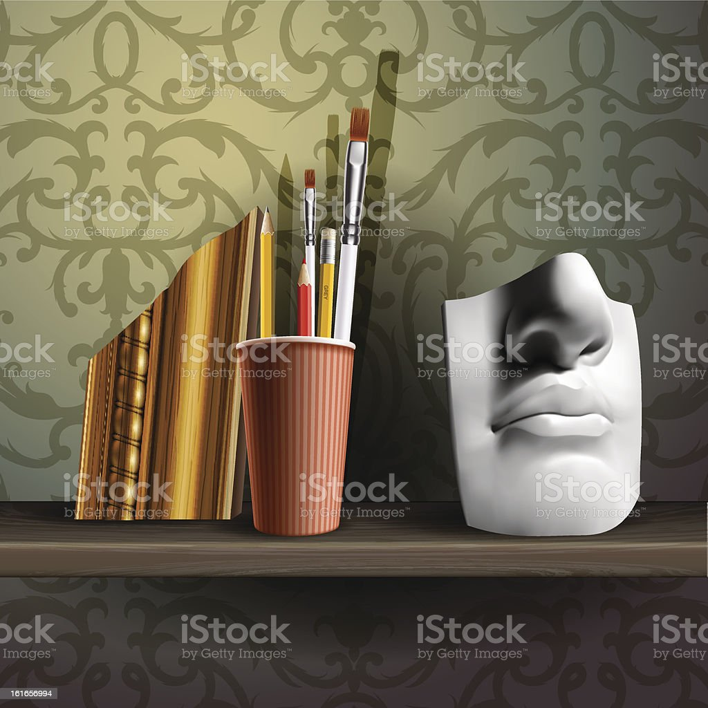 Davids nose and different art brushes on the shelf royalty-free stock vector art