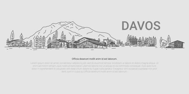Davos, Panorama auf Deminis, Cartoon. – Vektorgrafik
