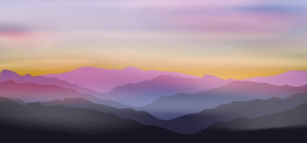 illustrazioni stock, clip art, cartoni animati e icone di tendenza di dawn above mountains - landscape