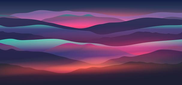 Dawn above mountains