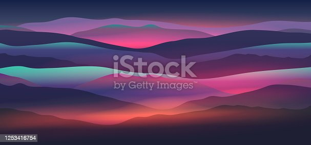 Dawn above mountains