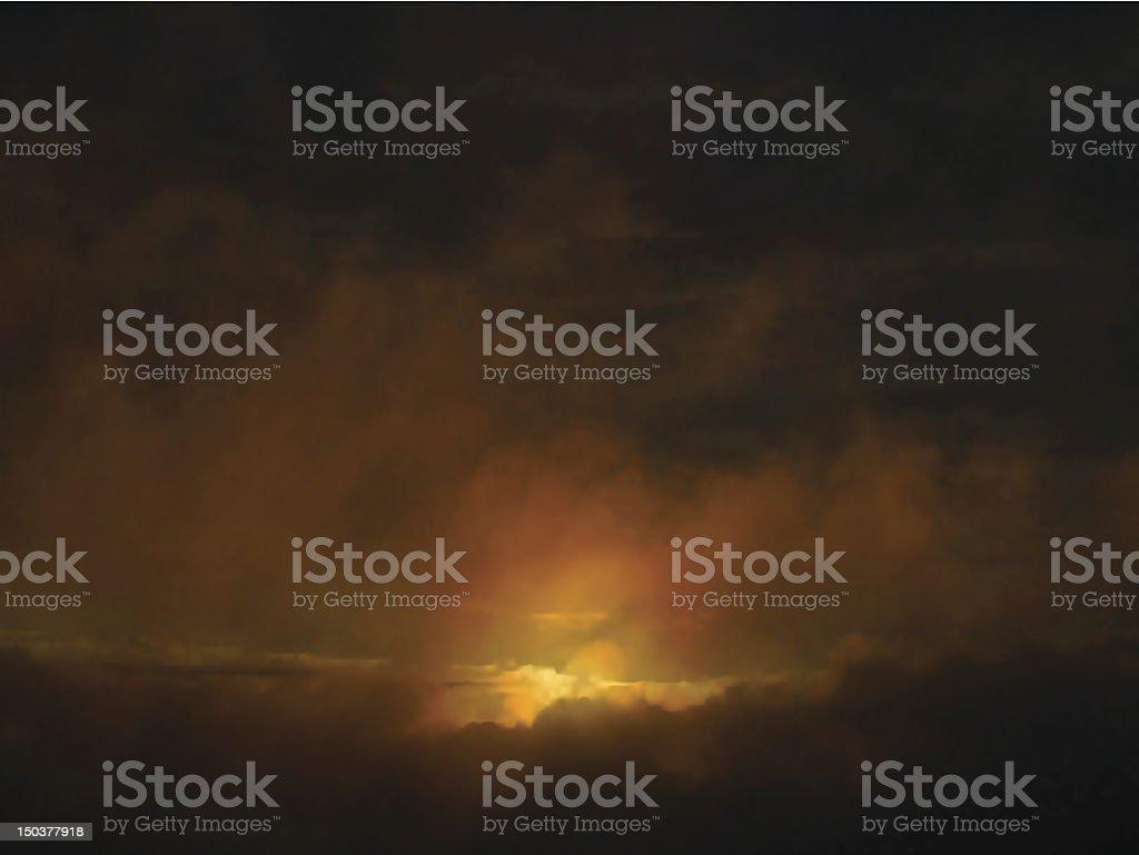 Dawn clouds vector art illustration