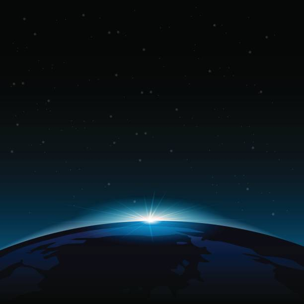 stockillustraties, clipart, cartoons en iconen met dawn vanuit de ruimte. dawn vanuit de ruimte. rijzende zon achter de aarde. vector achtergrond - new world