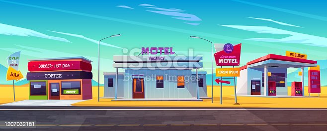 Roadside motel with parking, oil station, burger and coffee bar. Index signboard show way. Day and night comfortable hotel accommodation for traveling people. Car tourism. Cartoon vector illustration.