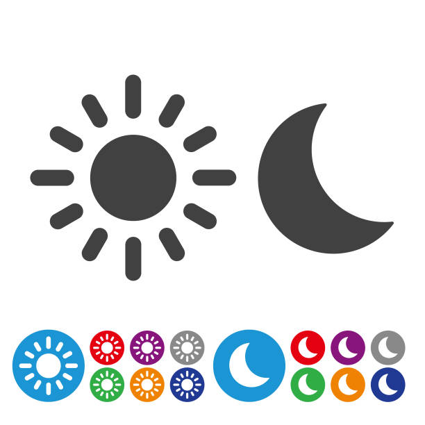 day and night icons - graphic icon series - moon stock illustrations, clip art, cartoons, & icons
