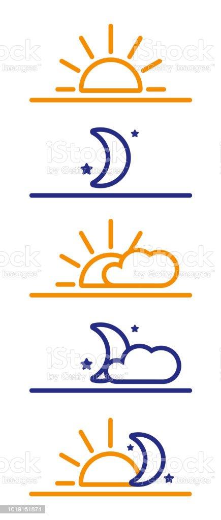 Day and Night icons. Sun, moon, morning night vector art illustration