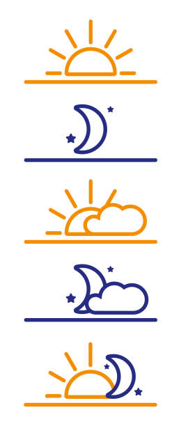 illustrazioni stock, clip art, cartoni animati e icone di tendenza di day and night icons. sun, moon, morning night - mattina