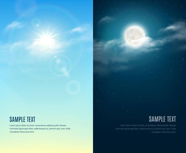 주간 및 야간 일러스트레이션. 스카이 배경기술 - sky stock illustrations
