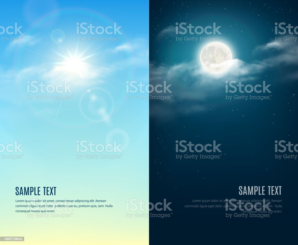 Day and night illustration. Sky background vector art illustration
