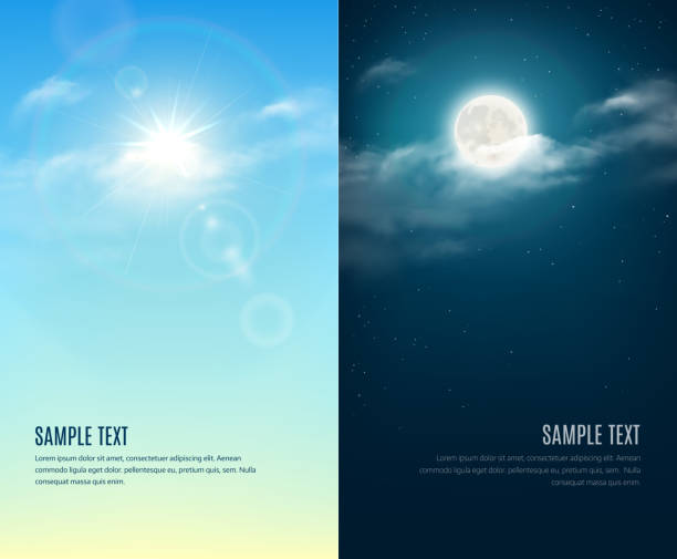 bildbanksillustrationer, clip art samt tecknat material och ikoner med day and night illustration. sky background - natt