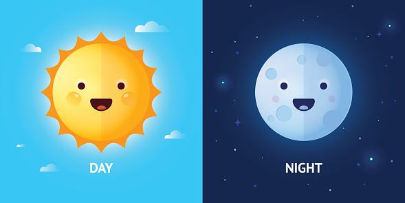 Day and Night Illustrations with Sun and Moon
