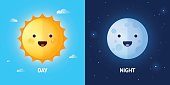 Day and night illustrations with funny smiling cartoon characters of sun and moon. EPS 10. RGB