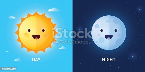 istock Day and Night Illustrations with Sun and Moon 698155286