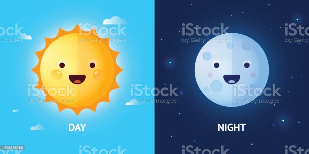 Day and Night Illustrations with Sun and Moon vector art illustration