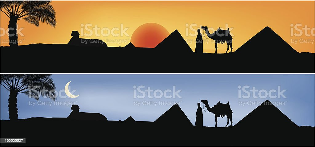 Day and night in Egypt vector art illustration