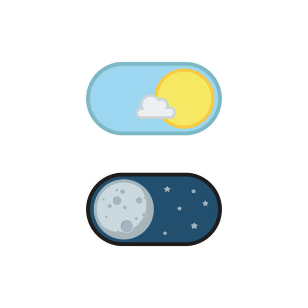 Day and night mode application icons vector art illustration