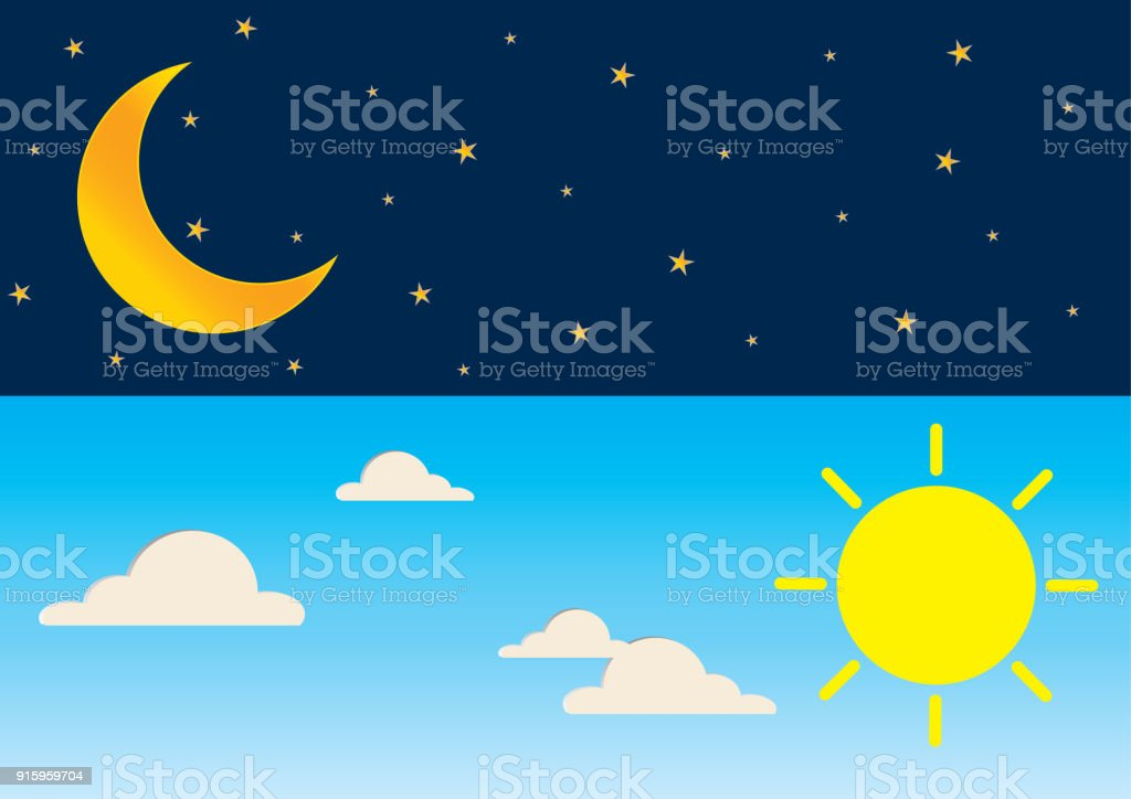 Day and night series time concept with sun, super moon, clouds and stars. vector art illustration