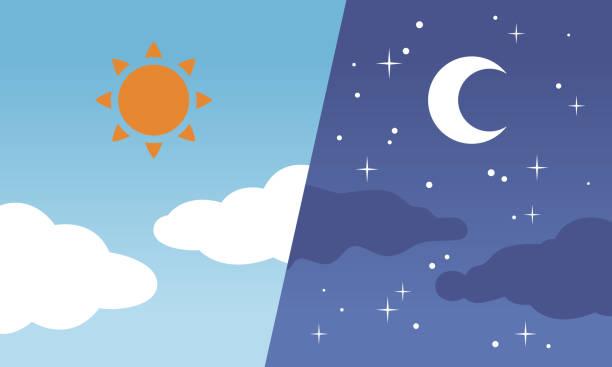 昼も夜も太陽と月 ベクターアートイラスト