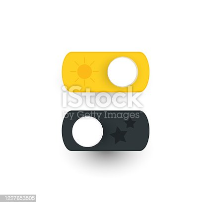 istock Day and night switch interface design. Vector for mobile and web. Vector darkmode switch interface design .On and off icon editable. Switch button vector sign 1227653505