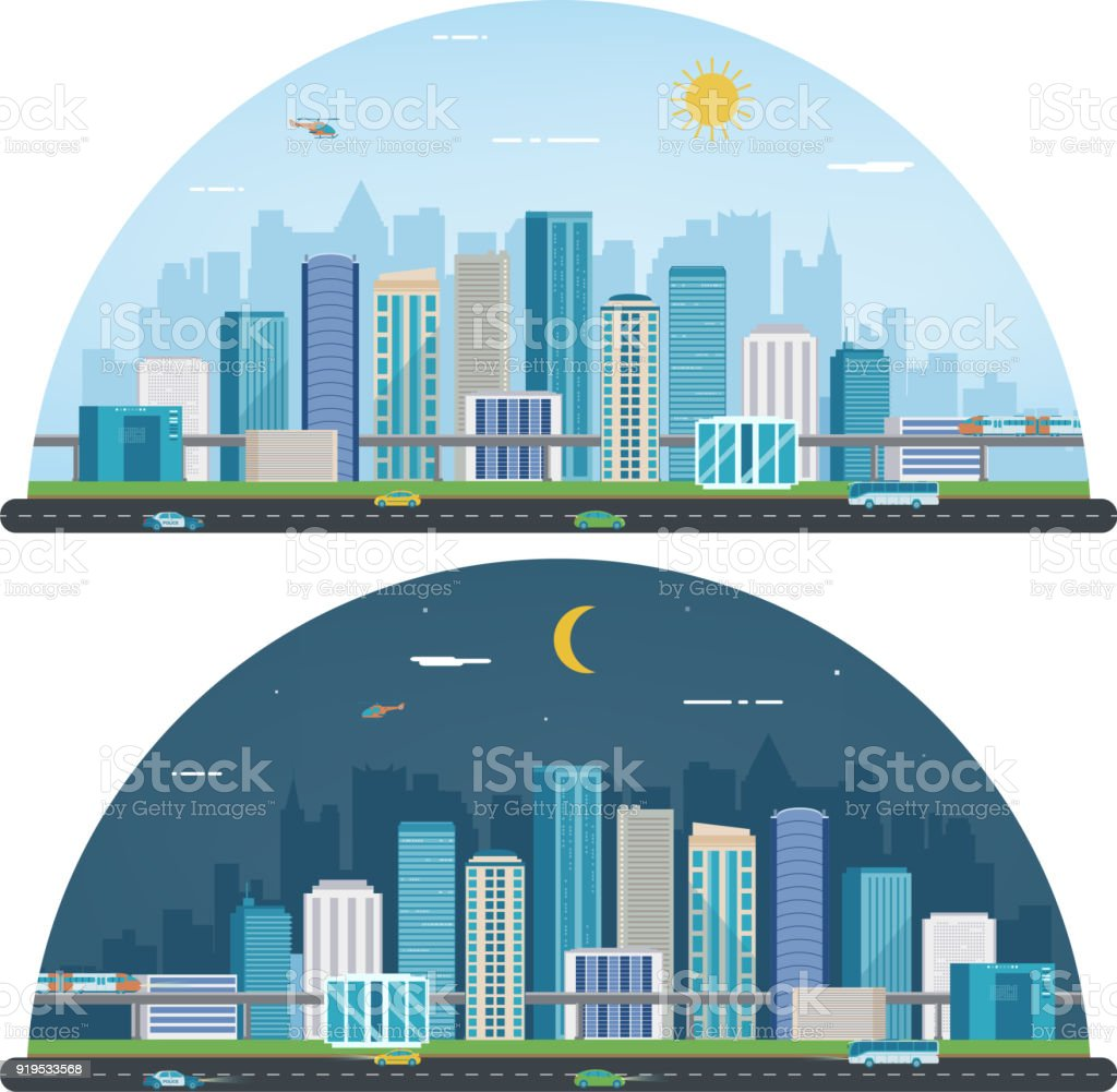 Day and night urban landscape. Modern city. Building architecture cityscape town. Vector