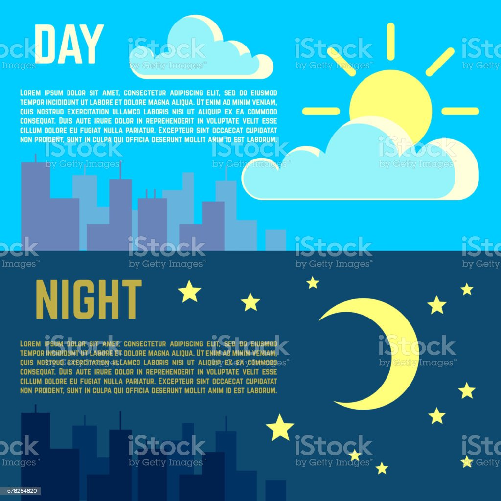 Day and night vector banners flat sun moon symbols stock vector art day and night vector banners flat sun moon symbols royalty free day and night vector biocorpaavc Images