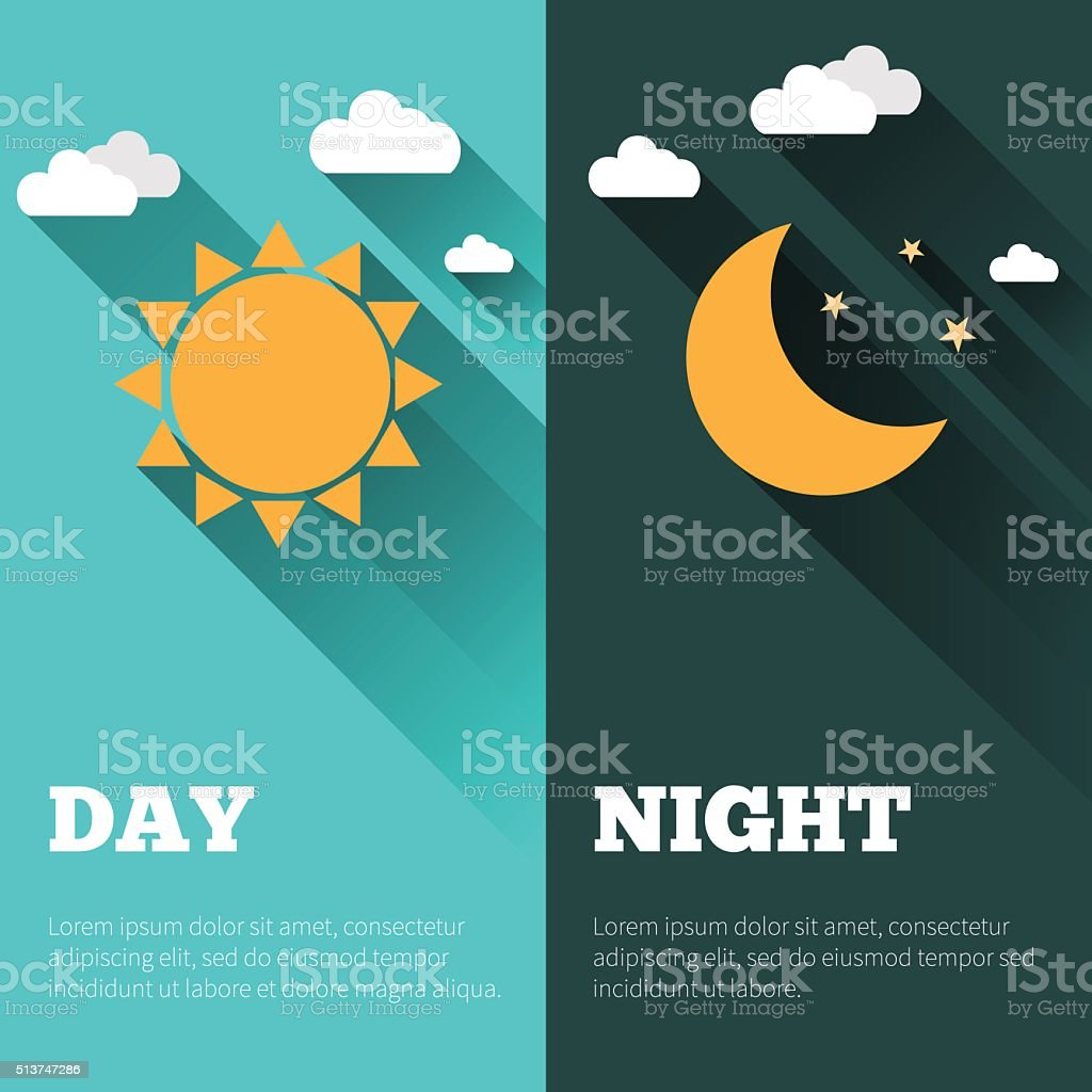 Dia e noite, banners de vetor isolado - ilustração de arte em vetor