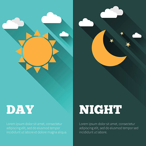 stockillustraties, clipart, cartoons en iconen met day and night vector banners isolated - zonnig