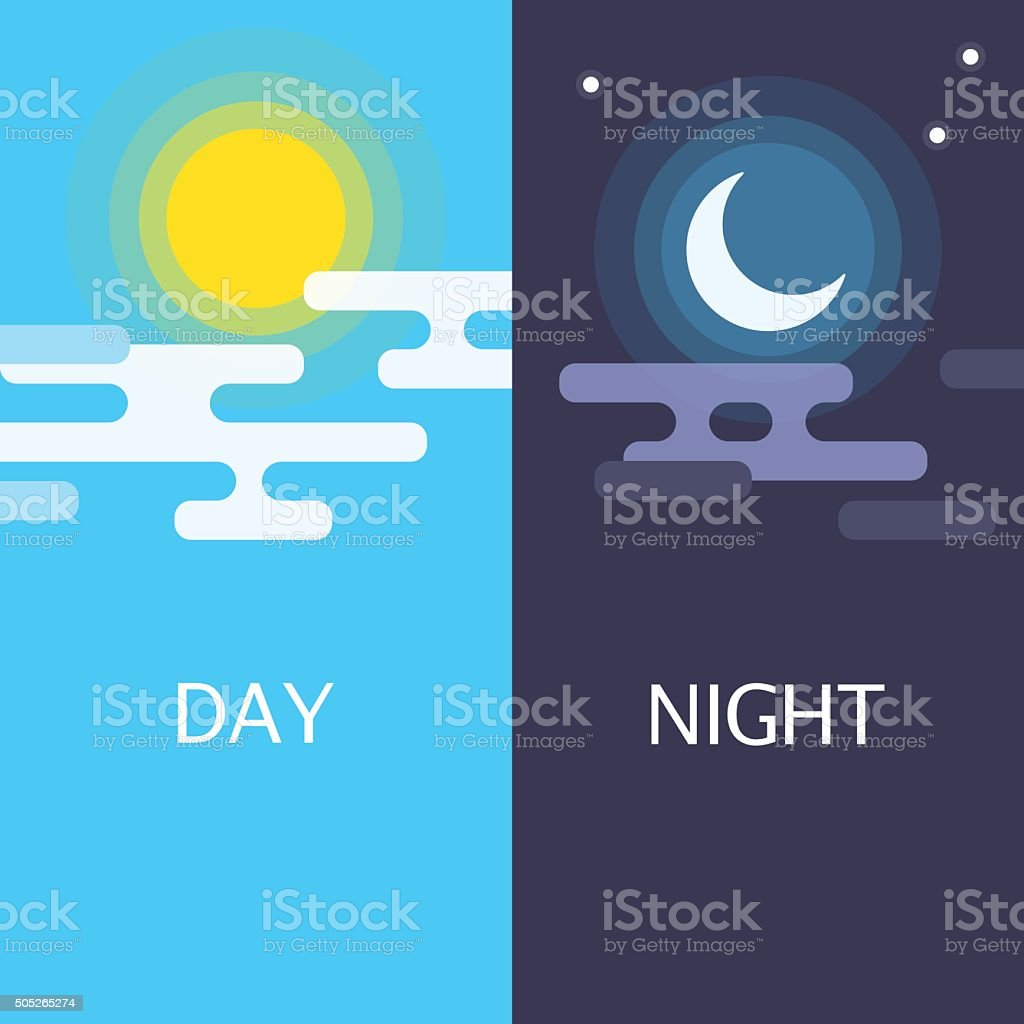 Day and night vector flat illustrations or banners. vector art illustration