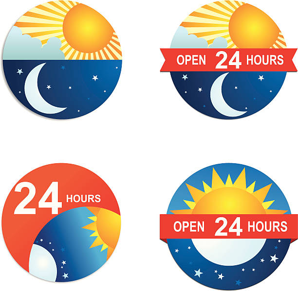 Day and Night vector art illustration
