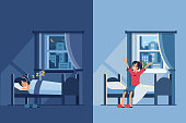 Woman sleep in bed at night and wake up in the morning. Flat style vector illustration.