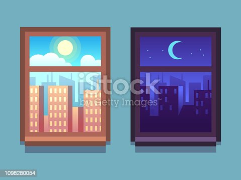 Day and night window. Cartoon skyscrapers at night with moon and stars, at day with sun inside home windows. Cartoon vector set