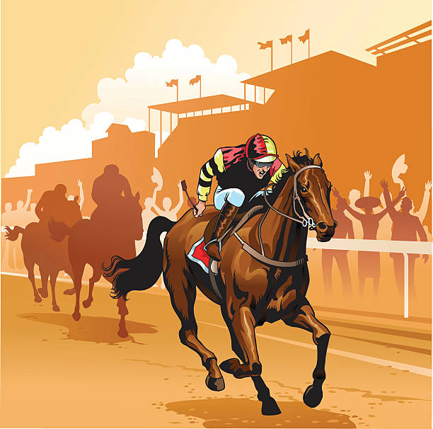 day at the races - horse racing stock illustrations