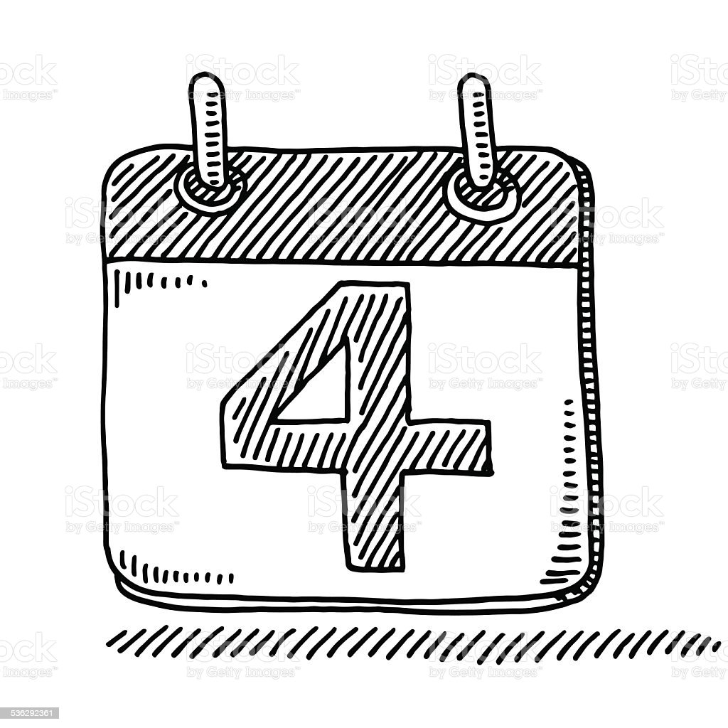 day calendar symbol number 4 drawing stock vector art more images of 2015 536292361 istock. Black Bedroom Furniture Sets. Home Design Ideas