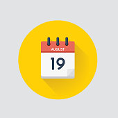 Vector illustration. Day calendar with date  August 19.