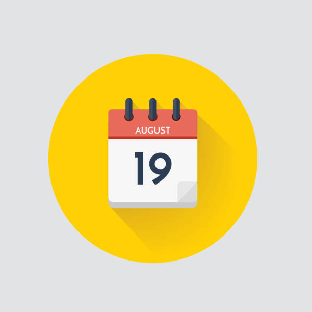 tageskalender mit datum august 19. - flat icons stock-grafiken, -clipart, -cartoons und -symbole