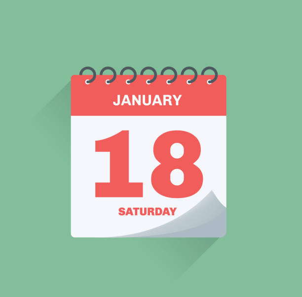 Day calendar with date January 18. vector art illustration