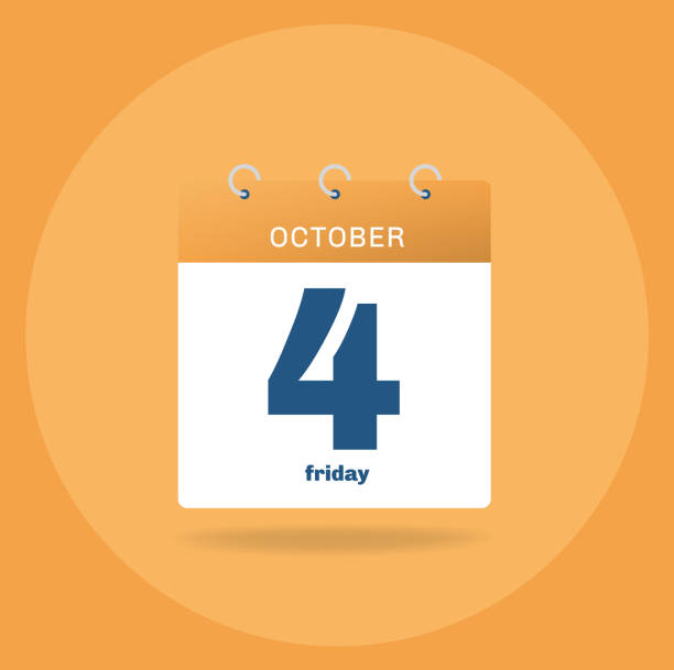 Day calendar with date October 4. vector art illustration